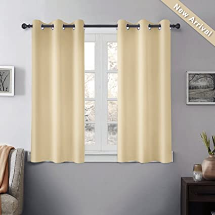 "GIAERD Thermal Insulated Grommet Blackout Curtains for Bedroom (2 Panels,Wide 52"")"