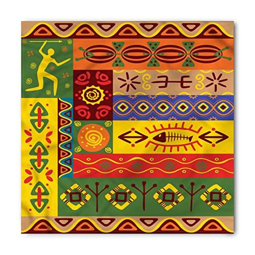 Ambesonne African Bandana, Abstract Ethnic Tribal, Unisex Head and Neck Tie (Hippie Print Tie)