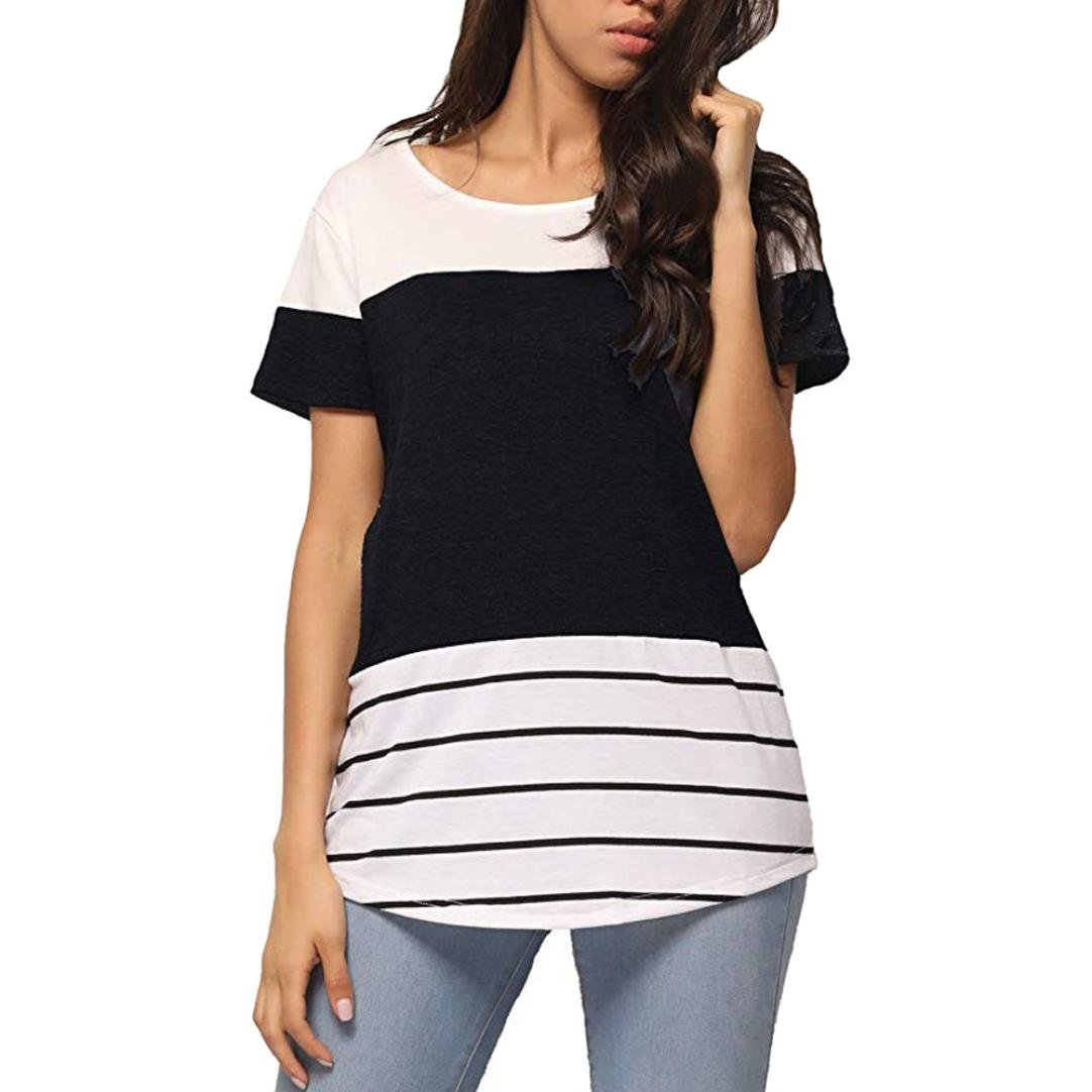 29ca318dc2c6d Women s Casual Print Short Sleeve T-Shirt Cold Shoulder Loose Top Blouse  by-NEWONESUN at Amazon Women s Clothing store