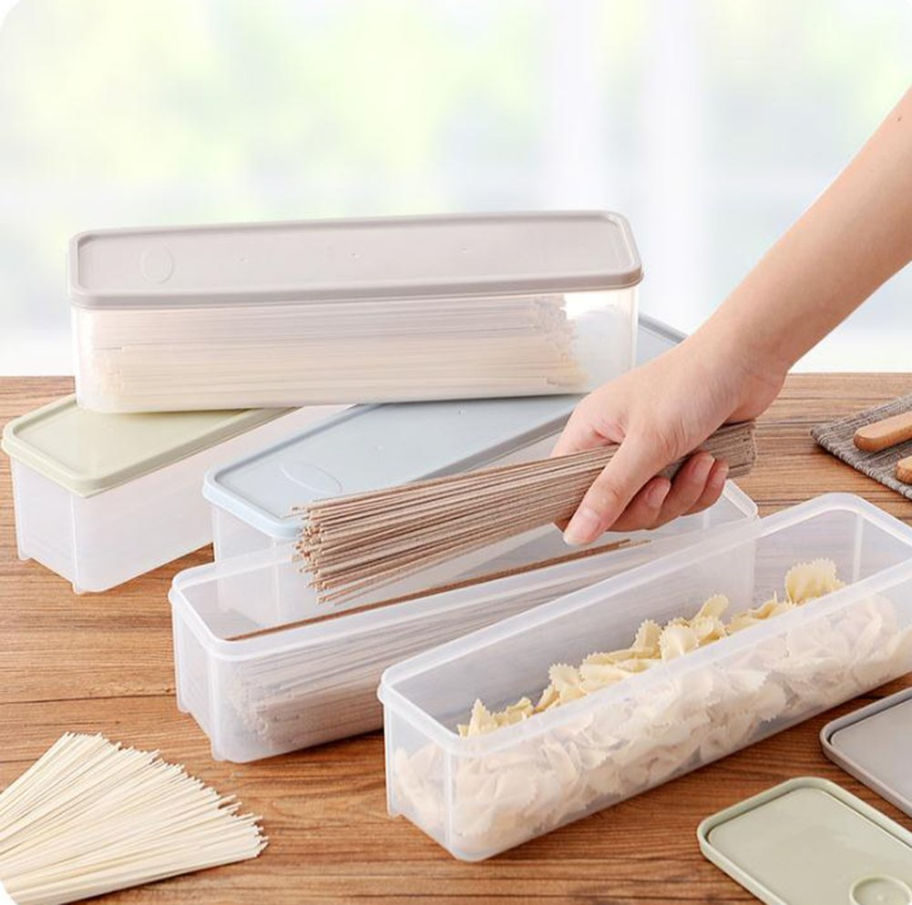 chytaii caja de conservaci/ón caja de espaguetis fideo caja de almacenamiento alimentos de pl/ástico rectangular con protectora cocina frigor/ífico azul