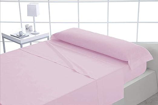Juego sábanas Lisas tintura Rosa Hostelería 100% Algodón Percal ...