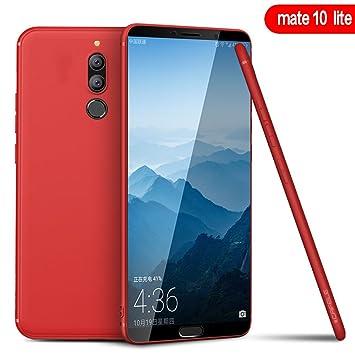 PULEN Funda per Huawei Mate 10 Lite (Rojo), [Protección para trabajo pesado] Protection de cuerpo Flexible TPU bumper Funda Carcasa Totalmente ...
