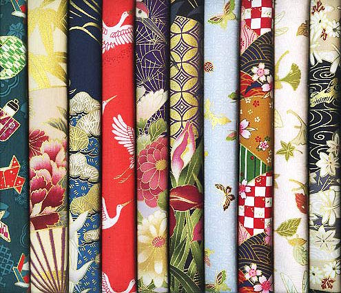 10 Asian Japanese Fat Quarter Quilt Fabric Bundle with Gold Metallic #21 (2 1/2 Yards Total)