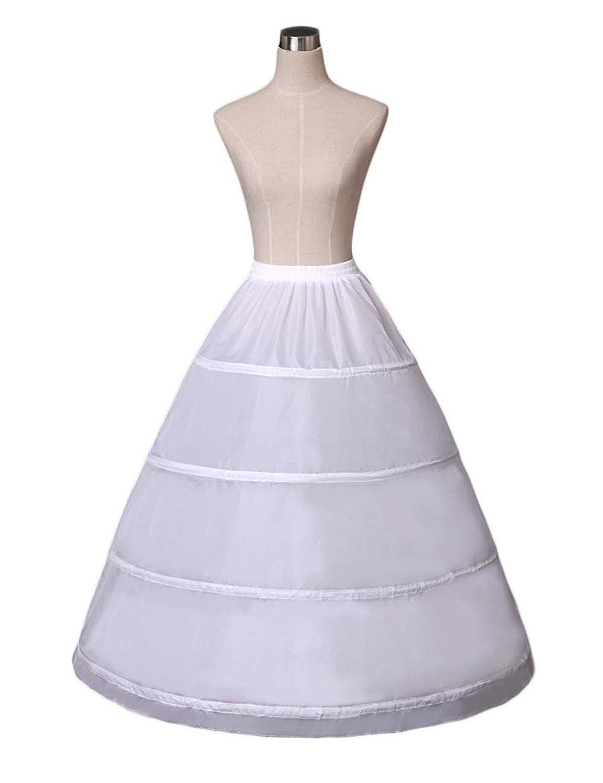 Odrobe Women's A-line Full-Length 4 Hoops/Petticoats/Underskirts Wedding Slips Free Size White