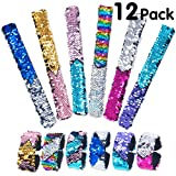 (US) Pawliss 12 Pack Little Mermaid Magic Charm Reversible Sequin Slap Bracelets, Birthday Party Favors Supplies Gifts for Girls Kids, Pink Blue Purple