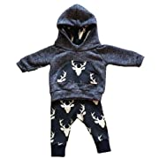 Toddler Infant Baby Boys Deer Long Sleeve Hoodie Tops Sweatsuit Pants Outfit Set, Grey&blue, Size 70 (up to 6 mos)