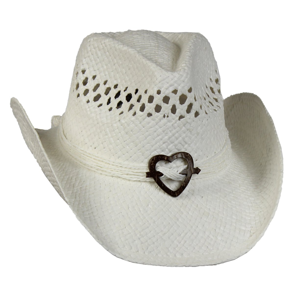 Saddleback Hats Vented Straw Cowboy Hat w/Wood Heart Band –Shapeable Cowgirl Western