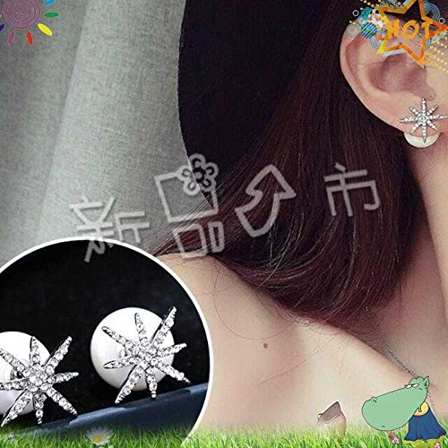 usongs Elegant country style earrings Silver Needle Micro Pave zircon starfish earrings pearl earrings hypoallergenic women girls fashion style