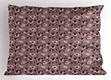 Ambesonne Abstract Pillow Sham, Blooming Flowers and Ballerina Silhouettes Dance Figures with Petals, Decorative Standard King Size Printed Pillowcase, 36 X 20 Inches, Rose Black Dried Rose