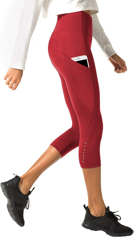 LAPASA Mallas Deportivas 3/4 Capris de Mujer Cintura Alta con Bolsillo (Leggings para Yoga, Pilates, Running) L02