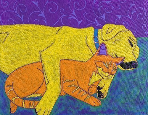 yellow-lab-and-cat-sleeping-dog-art-strange-bed-fellows-matted-print-by-angela-bond