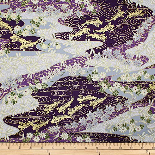 Trans-Pacific Textiles Asian Koi Dragonfly w/Metallic Purple Fabric Fabric by the Yard