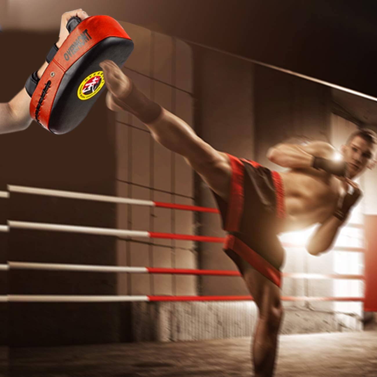 Overmont Paos de Cuero PU Muay Thai Kick Manoplas Boxeo Almohadilla de Entrenamiento de Boxeo Boxing Artes Marciales taekwondo karate judo Jiu-jitsu brasile/ño