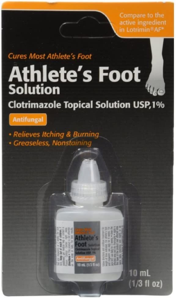 Clotrimazole, AF Antifungal AthleteS Foot Topical Solution 1 Percent (Generic Lotrimin) - 10 Ml (Pack of 2)