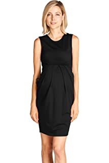 b71feb5f9e2 LaClef Women s Cap Sleeve Maternity Dress with Adjustable Side Tie ...