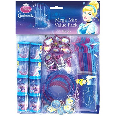 Disney Cinderella Assorted Birthday Party Favour Value Pack (48 Pack), Multi Color. -