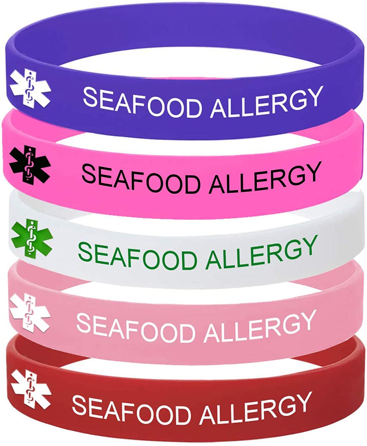 MZZJ 5 Color Pack-Personalized Engraved Medical Alert ID Jewelry Food Drug Allergy Bracelets,100% Silicone Rubber ID Survivor Bracelet Band,Emergency Contact Bracelet,Diabetes Bracelet,5.5