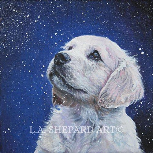 A Golden Retriever dog art portrait print of an LA Shepard painting 12x12