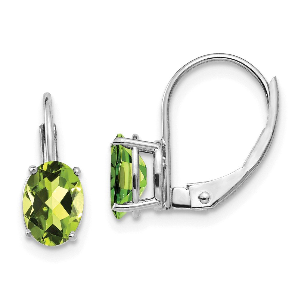 Mia Diamonds 14k White Gold 7x5mm Oval Peridot Leverback Earrings