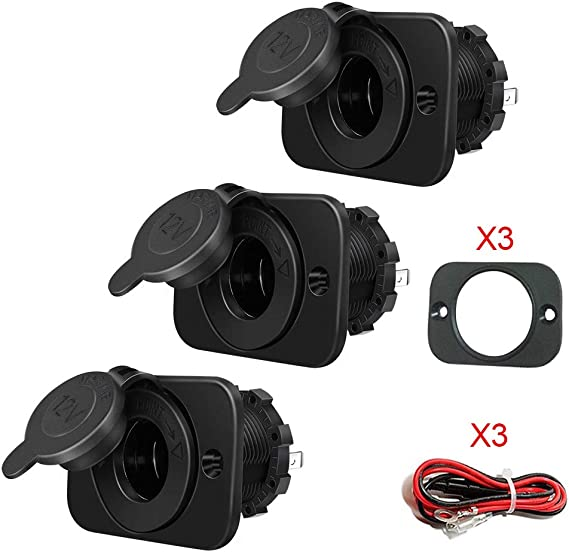 3X Three Marine 12V Power Outlet Motorcycle Waterproof Accessory Plug Sockets