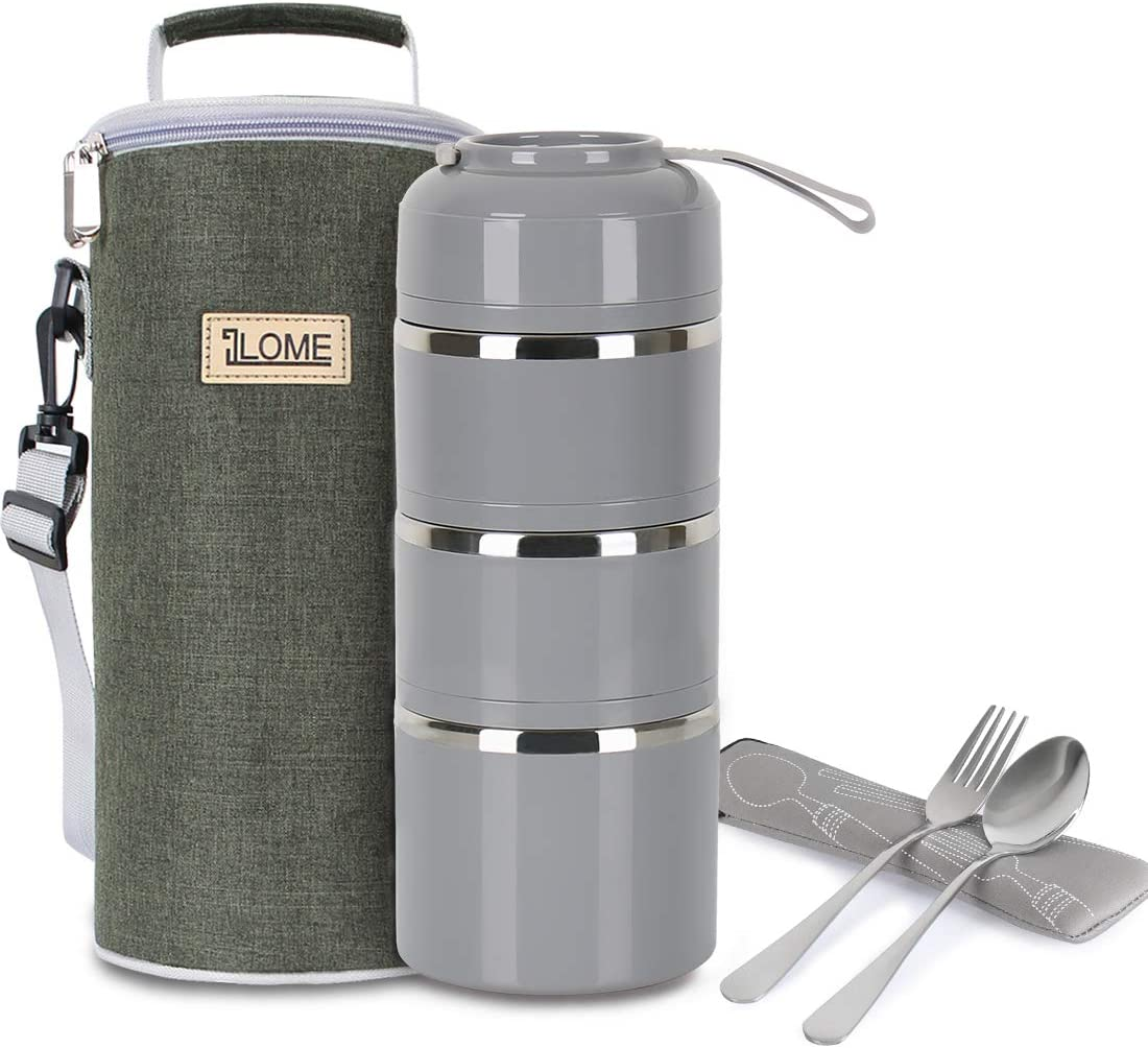 ILOME Lunch Bento box Food Container with insulated lunch bag Fork and spoon for Women Men working Picnic and Camping (Grey)