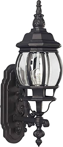 Forte Lighting 1701-01-04 Exterior Wall Light with Clear Beveled Glass Shades, Black