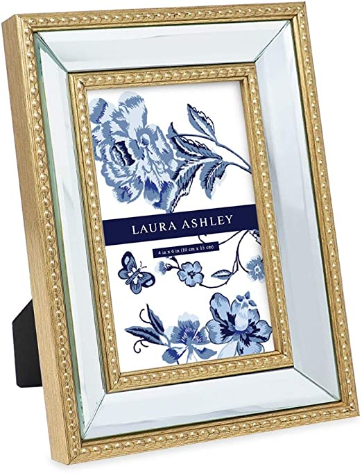 Amazon Com Laura Ashley 4x6 Gold Mirror Bead Picture Frame Classic Mirrored Frame With Beaded Border Wall Mountable Made For Tabletop Display Photo Gallery And Wall Art 4x6 Gold Home Kitchen