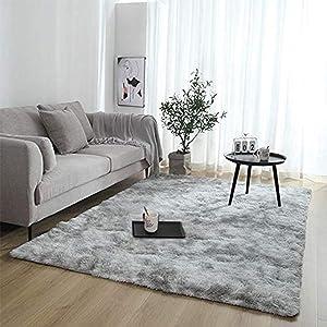 Modern Abstract Shaggy Area Rugs Fluffy Soft Bedroom Rug for Kids Nursery Girls Boys Ultra Comfy Shag Fur Carpets Nursery Room Living Room Furry Decor Rugs (5ft x 7ft, Light Grey)