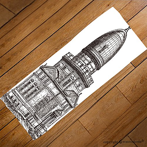 fan products of VROSELV Custom Towel Soft and Comfortable Beach Towel-observatory of strasbourg france vintage illustration from meyers konversati Design Hand Towel Bath Towels For Home Outdoor Travel Use 27.6