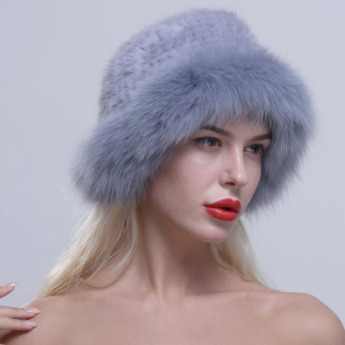 URSFUR Genuine Fox Fur Roller Hat with Knit Mink Top Sapphire by URSFUR (Image #4)