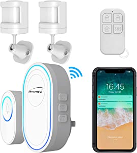 Motion Sensor Detector Driveway Alarm, WiFi Security System with Doorbell, Caregiver Pager Smart Call Hub, SOS Button Remote Controller, APP Push Notification, Two-way Alert, 433MHz Wireless Gateway
