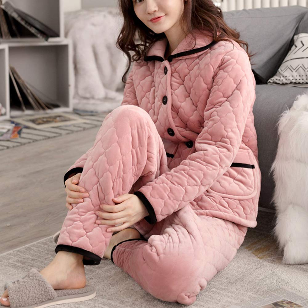 A ZZHF shuiyi Pajamas, Small Lapel Simple Thicken Pajama Set Female Winter Three Floors Keep Warm Home Clothing TwoPiece Suit Convenient Leisure Clothes, 3 colors Optional Pajamas