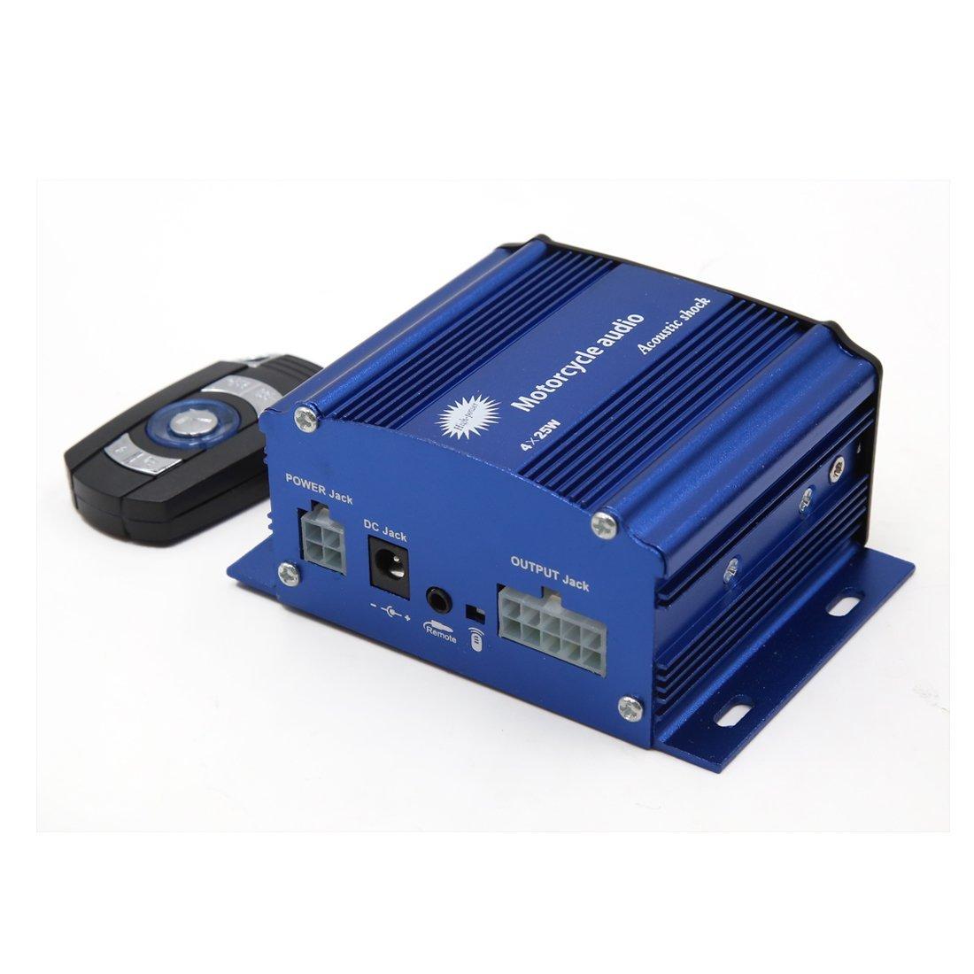Amazon.com: eDealMax 2pcs Negro Azul antirrobo del USB MP3 del altavoz del amplificador de Audio estéreo DC 12V Para la motocicleta: Home Audio & Theater