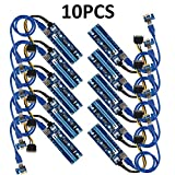 MECHREVO PCIe Riser Mining Card (10pcs) PCI-E 16x to 1x Powered Riser Adapter Card w/60cm USB 3.0 Extension Cable & MOLEX to SATA Power Cable - GPU Riser Adapter Extender Cable - Ethereum Mining ETH