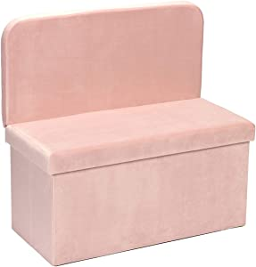 B FSOBEIIALEO Storage Ottoman with Seat Back, Folding Footstool Foot Rest Ottomans Shoes Bench Cube Box Velvet (Pink, Large)