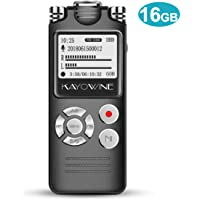 Digital Voice Recorder KAYOWINE 16GB Professional Noise Reduction HD Sound Multi-Function Audio Recorder with Headphone and OLED Screen for lectures, Meetings, interviews