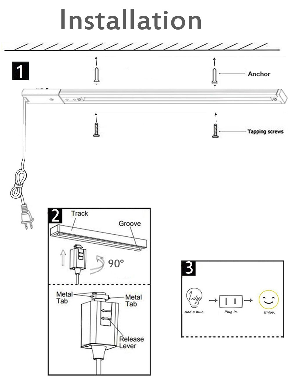 Kiven 3.3 Foot Gloss White Track Light Rails, H System Track Single Circuit Mains Voltage Track,Plug in