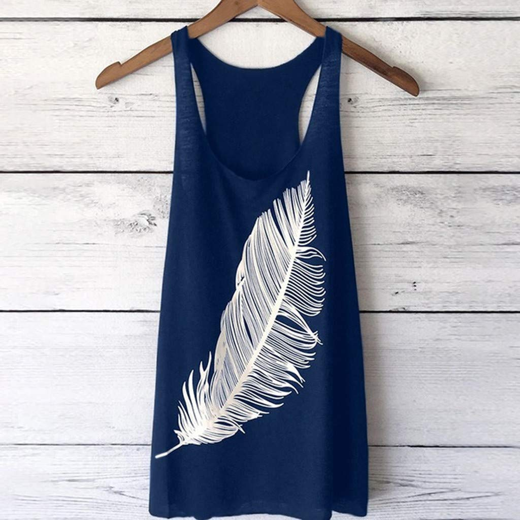 Sanyyanlsy Womens Big Feather Printed Long Tunic Vest Top O-Neck Short Sleeve T-Shirt Casual Solid Color Loose Blouse