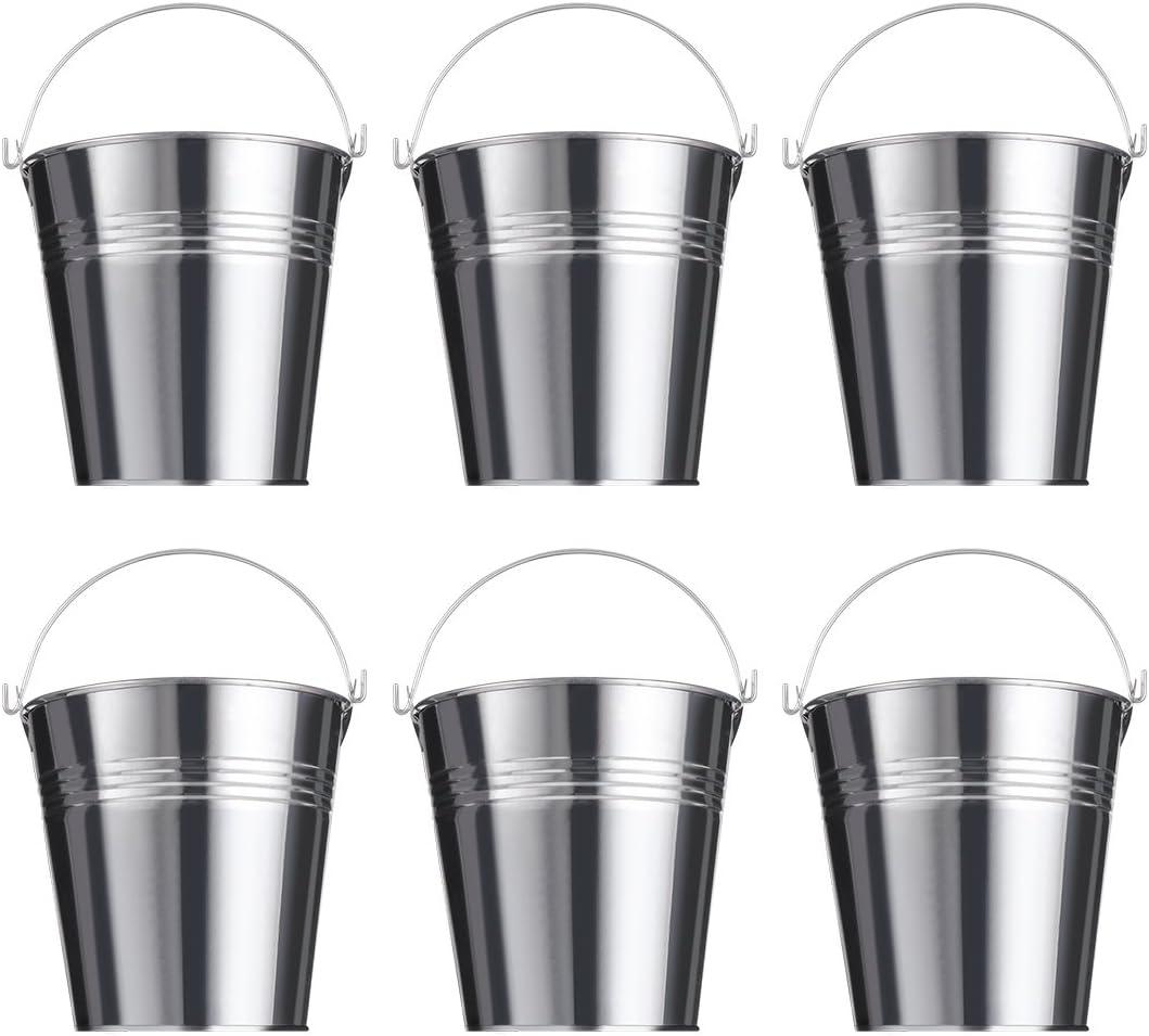 NUOLUX Pequeño cubo galvanizado - Cubo de estaño multifuncional para flores Papas fritas refrigeración, Suministros para la fiesta, 6 piezas, 10 cm