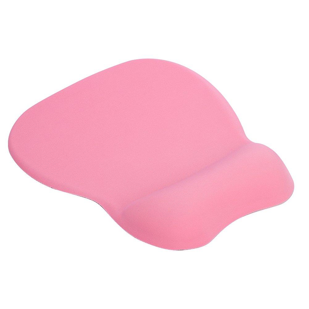 de silicona Alfombrilla de rat/ón antideslizante con reposamu/ñecas para ordenador port/átil color rosa 195*245*23mm de poliuretano antideslizante