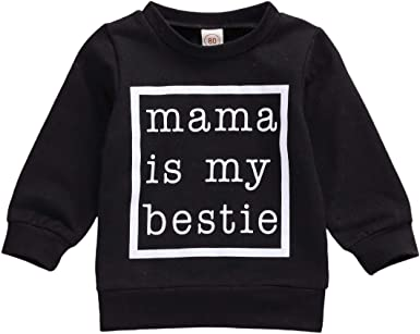Frecoccialo Toddler Babys Girls Cotton Sweatshirts Long Sleeve LettersMAMAS Girl Printed Round Neck Shirts Pullover Tops Spring Autumn Shirts Clothes