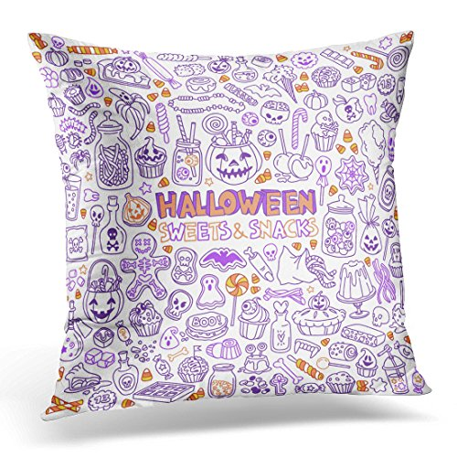 Emvency Throw Pillow Covers Candy Halloween Candies Sweets Snacks and Drinks for Trick Treating Kids Party Table Decorative Pillow Case Home Decor Square 20