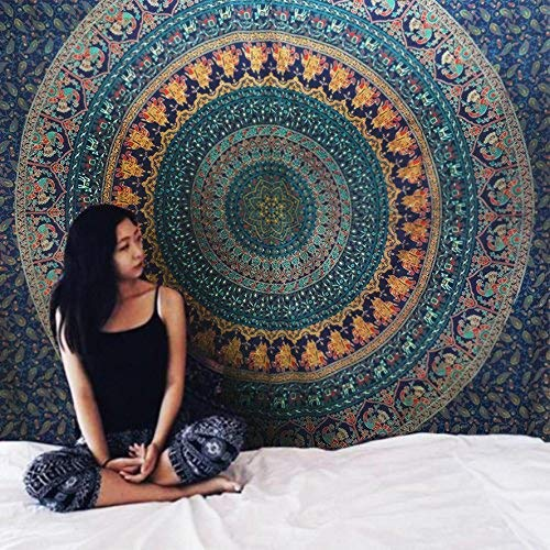 Indian Wall Hanging Cotton Tapestry Bohemian Bed Spread Table Top Cover