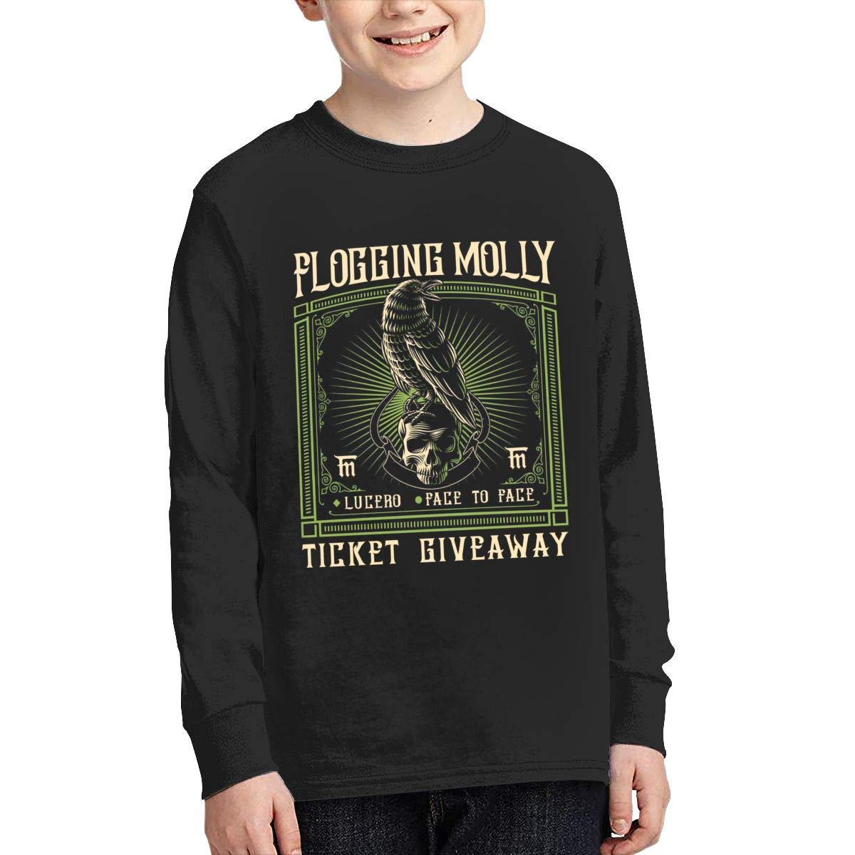 MichaelHazzard Flogging Molly Tour 2019 Youth Comfortable Long Sleeve Crewneck Tee T-Shirt for Boys and Girls