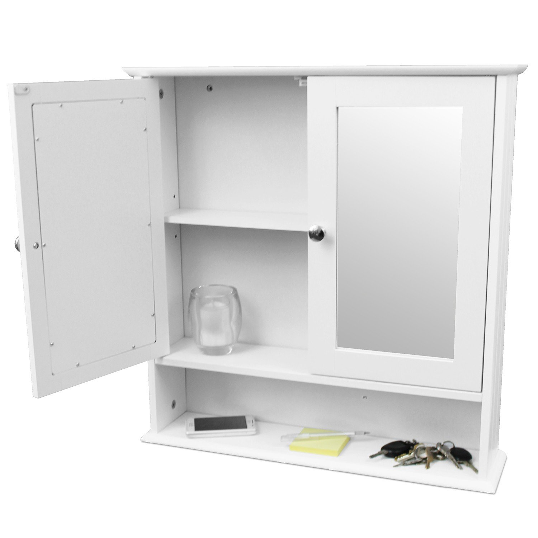 Wandschrank mit Spiegel und Ablage 56x13x58cm Badschrank ...