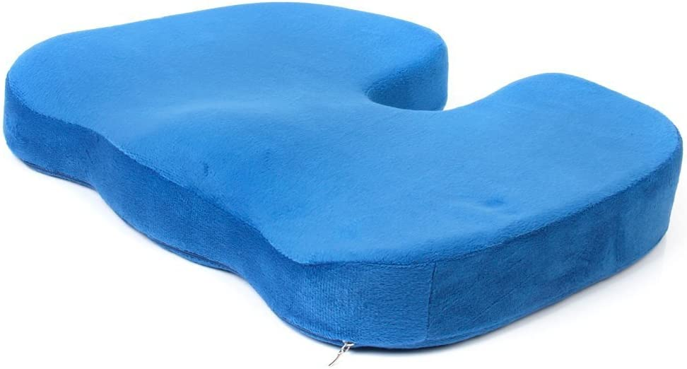 Happy little sheep Cojín ortopédico para Silla de coxis Ultra Comfort (Gris), Chenilla, Blue,è 色, 45 * 35 * 7cm å.芯350å.‹