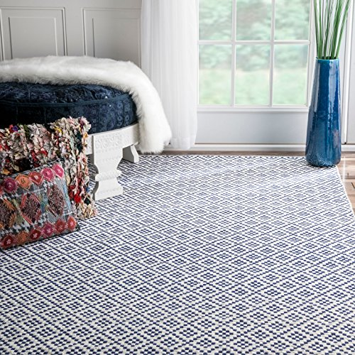 nuLOOM Hand Loomed Nods Cotton Trellis Flat Woven Area Rugs, 9' x 12', Navy (Rug Loomed)