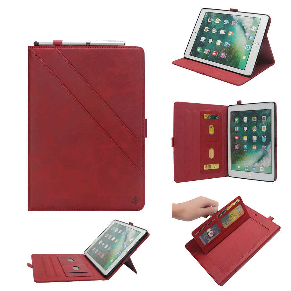 TechCode 2nd Generation iPad Pro 12.9 Case, Luxury PU Leather Business Smartshell Flip Case with Multi Veiw Angles & Pen Sleeve &Card Slots Pocket Book Stand Cover for iPad Pro 12.9 2015/2017, Red