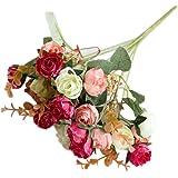 Sanwooden 1 Bouquet Artificial Plastic Rose Flower Plant Home Office Shop Decoration - Red
