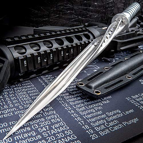 K EXCLUSIVE Grey Titanium Spiral Dagger with Sheath